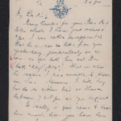 Letter to his wife from Herbert Gray